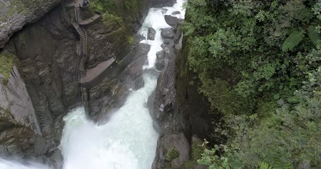upstream : Banos, Ecuador-20180925-Drone Pivot Bottom to Stairs of Pailon del Diablo Devils Cauldron