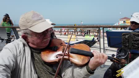 composição : Tel Aviv, Israel - 2019-04-27 - Elderly String Musicians at Beach with Sound 1 - violin closeup. Stock Footage