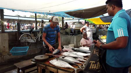 hentes : Nogombo, Sri Lanka- 2019-03-22 - Fish Vendor Slices Fish For Customer.