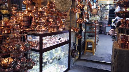 coppersmith : Isfahan, Iran - 2019-04-12 - Vendor Has Huge Inventory of Copper Items.