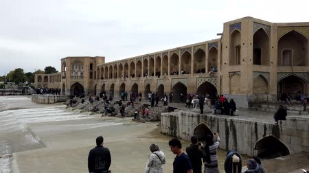 isfahan : Isfahan, Iran - 2019-04-12 - Si-o-se-pol Bridge is Most Famous in Town 3 - Daytime Downstream Crowded.