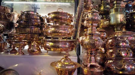 coppersmith : Isfahan, Iran - 2019-04-12 - Slide Past Copper Items. Stock Footage