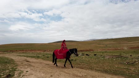 hill tribe : Shiraz, Iran - 2019-04-09 - Qashqai Woman in Red Dress Rides Horse Past Hill Tribe Tents. Stock Footage
