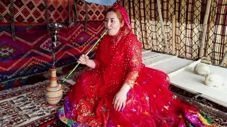 hill tribe : Shiraz, Iran - 2019-04-09 - Qashqai Woman in Red Dress Smokes Water Pipe. Stock Footage