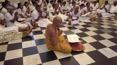 заслуга : Kandy, Sri Lanka - 09-03-24 - Monk Leads Dozens of People Sitting on Floor in Prayer 4 - Over Shoulder of Monk.