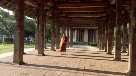 шри : Kandy, Sri Lanka - 09-03-24 - Monk Walks Through Temple Columns Dappled in Sun.