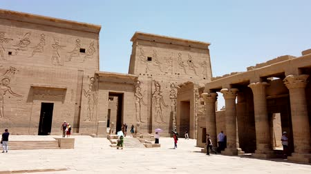 nasser : Aswan, Egypt - 2019-04-28 - Philae Temple - Giant Stone Carvings Protect The Entrance.