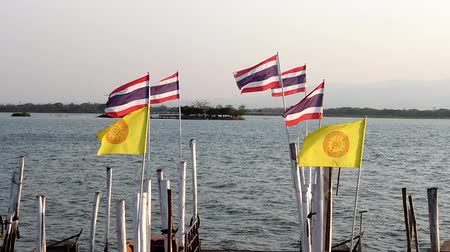 monarca : Phayao, Thailand - 2019-03-08 - Many Thailand and Buddhist Flags Flying on Pier Closeup.