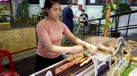 cozinhado : Chiang Mai, Thailand - 2019-03-15 - Aligator Meat is Cooked at Market - Basted Front View. Vídeos