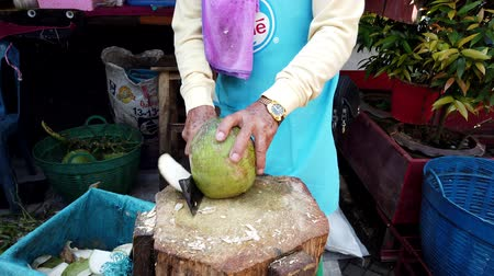 hindistan cevizi : Mae Saiong. Thailand - 2019-03-11 - Slicing Coconut For Tourist Water Treat. Stok Video