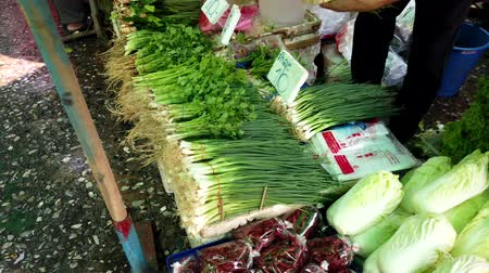 cozinhar : Bangkok, Thailand - 2019-03-17 - Vendor Arranges Green Onions at Market.
