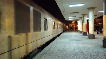 petróleo : Luxor, Egypt - 2019-05-01 - Commuter Train Pulls Into Station at Night.