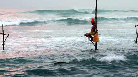 fishing pole : Galle, Sri Lanka - 2019-04-01 - Stilt Fishermen - Man in Orange Turban. Stock Footage