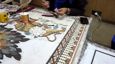 vleermuis : Petra, Jordan - 2019-04-20 - Mosaic 5 - Artists Glues Pieces for Lion Plaque. Stockvideo