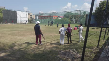 vleermuis : Galle, Sri Lanka - 2019-04-01 - Teenage Cricket Practice - Coach Hits For Catching Practice. Stockvideo