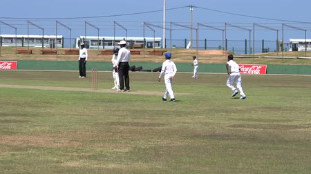 vleermuis : Galle, Sri Lanka - 2019-04-01 - Teenage Cricket Practice - Pitching and Batting on Field. Stockvideo