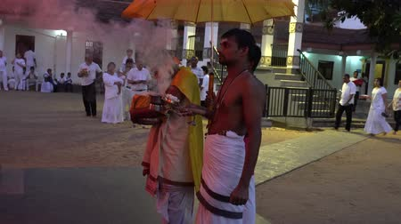 сжигание : Kataragama, Sri Lanka - 2019-03-29 - Hindu Priests Pray and Burn Incense. Стоковые видеозаписи