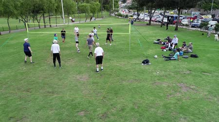 служить : Cuenca, Ecuador - 2019-02-10 - Park Pickup Volleyball - Low Aerial Long Point.
