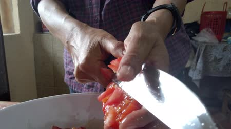 cursus : Cuenca, Ecuador - 2019-02-24 - Woman dices tomato in the palm of her hand.