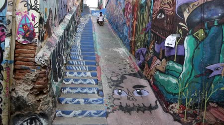 festett : Valparaiso, Chile - 2019-07-20 - Man Slides Down Concrete Next to Stairs Painted Wtih Murals.