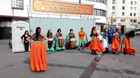 colonial : Valparaiso, Chile - 2019-07-20 - Street Dancers Perform Traditional Dance.