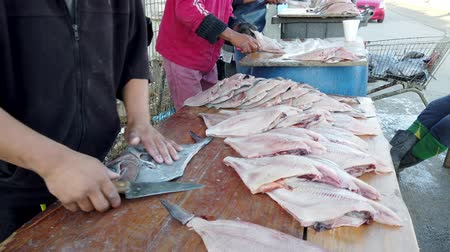 Vina del Mar, Chile - 2019-07-27 - Three Fishermen Work to Turn Reine Fish Into Filets. Wideo