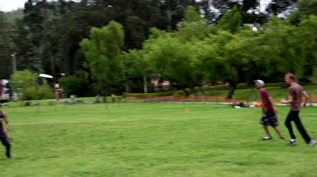 Cuenca, Ecuador - 2019-02-10 - Pickup Extreme Frisbee in Park - Interception. Stock mozgókép