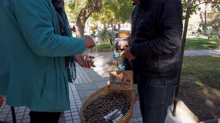 жесткий : Vacuna, Chile - 2019-06-30 - Street Vendor Cracks Palm Coconuts For Customer.