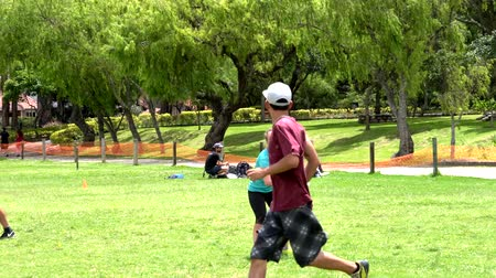 crouch : Cuenca, Ecuador - 2019-02-10 - Pickup Extreme Frisbee in Park - Full Goal.