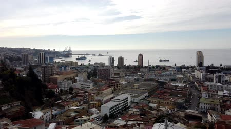 Valparaiso, Chile - 2019-07-19 - Panorama of City Skyline.