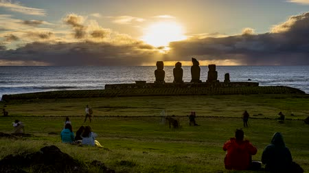People Wait For Sunrise in Front of Moai on Easter Island.