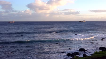 Waves Lap at Rocky Coast With Ships on Horizon.