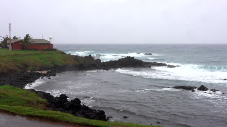Waves Lap at Rocky Coast With Weather Station on Coast. Wideo