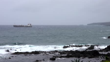 Waves Lap at Rocky Coast With Ship on Horizon.