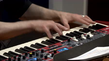 Cuenca, Ecuador - 2019-09-29- Rock Band Practice Session - Keyboard closeup view. Stock Footage