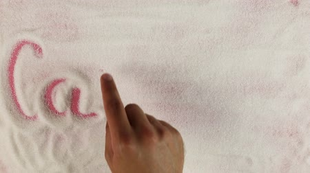 потеря : Men hand draws word calories on the surface of sugar