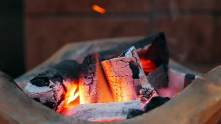 Burning charcoal in stove for preparing  traditional food of Thailand. It is popular for all homes in cooking with a stove that provides high thermal energy and economical.