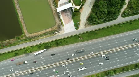 Aerial view of the motorway and expressway in Thailand. It is a way to connect the city to the capital.