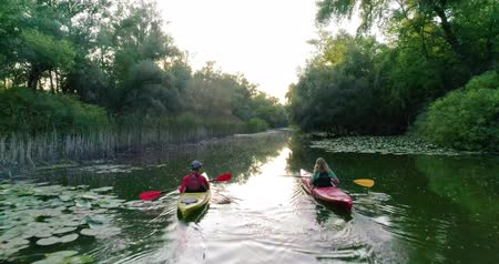kano : Two kayaks are sailing along a scenic river. Aerial view. Stok Video