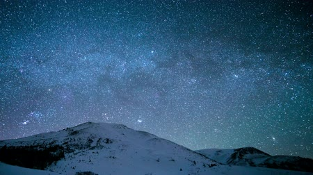 Time-lapse. Milky Way above the snowy peaks of the Carpathian Mountains