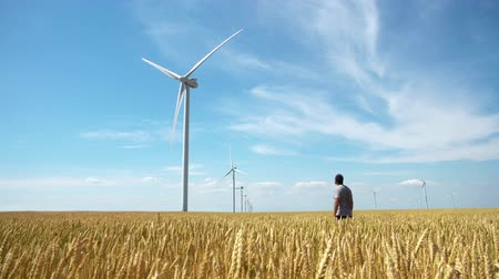 sustainable resources : Man on yellow field of wheat with windmills