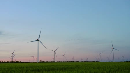 windmills in the green field on the sunset