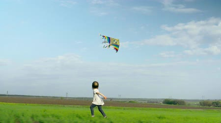 infantil : Cheerful little girl runs and playing with a kite