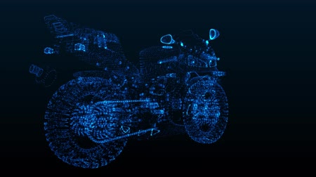 hız göstergesi : Rotating motorcycle. Glowing Light Particles Arranged in the Formation of Model motorcycle 360 Degree. Seamless Looping Motion Animated Background. Blue Cyan color.