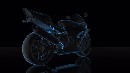 hız göstergesi : Rotating motorcycle. Black and blue shine Formation of Model motorcycle 360 Degree. Looping Motion Animated Background.