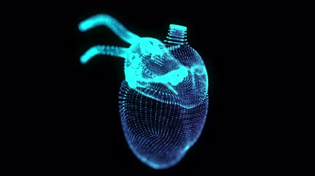 infarct : Rotating 360 degree hologram of human heart. Glowing blue light particles point of human heart model. Seamless looping motion animated in 3d virtual space. Stock Footage