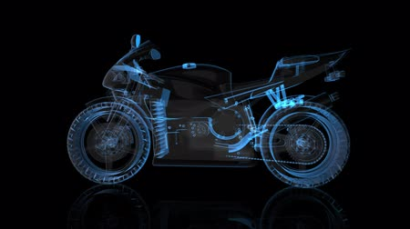 hız göstergesi : Rotating motorcycle. Black and blue shine Formation of Model motorcycle 360 Degree Stok Video