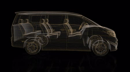 minibus : Minivan. Wireframe triangle formation of 3d Model minivan. Rotating 360 Degree. 4k animation. Stock Footage