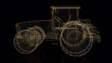 cabins : Tractor. Wireframe triangle formation of 3d Model tractor. Rotating 360 Degree. 4k animation. Stock Footage
