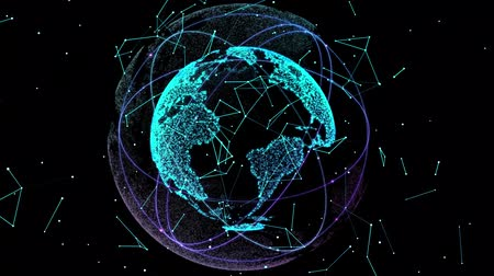 spojení : Digital data globe. Abstract 3D rendering of a scientific technology data network planet earth. 4K Digital World Networks.